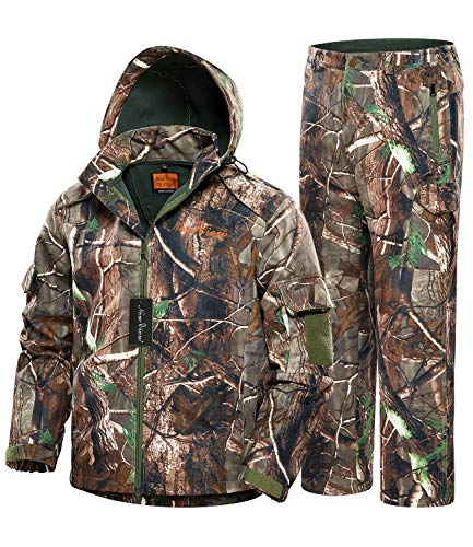 NEW VIEW 2020 Upgrade Hunting Jacket for Men,Silent Water Resistant Hunting Suits,Camo Hunting Camouflage Hooded Clothes,Hunting Pants (Upgraded Camo Tree, L)