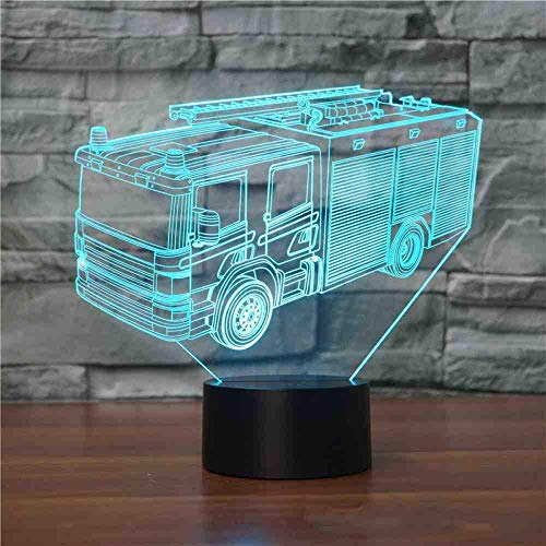 3D Fire Engine Lamp 7 Color Led Night Light USB Kids Table Lamp Baby Sleeping Lighting Car Shaped Light Fixture Decor Gift