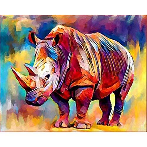 Malen nach Zahlen DIY Ölgemälde Gemaltes Nashorn Leinwand Ölgemälde für Kinder Erwachsene Anfänger Gemälde Kits Kunst Home Dekor Geschenke - 40 X 50CM (Ohne Rahmen)