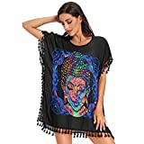 Women's Chiffon Tassel Swimsuit Beach Cover Up Shirt The Lord Buddha is Psychedelic Painting Retro Style Cover Ups for Swimwear Bikini Beachwear