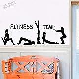 Tiempo de fitness ejercicio etiqueta de la pared vinilo calcomanía de aterrizaje decoración de gimnasio gimnasta Mural Yoga Studio artista decoración del hogar