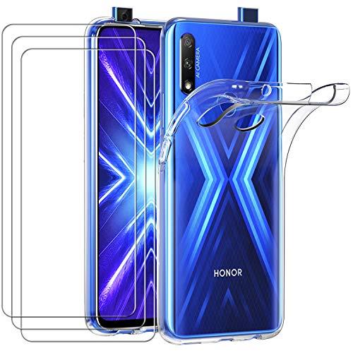 ivoler Hülle für Huawei P Smart Z/Honor 9X, mit 3 Stück Panzerglas Schutzfolie, Klar Dünne Weiche TPU Silikon Transparent Stoßfest Schutzhülle Durchsichtige Handyhülle Kratzfest Hülle