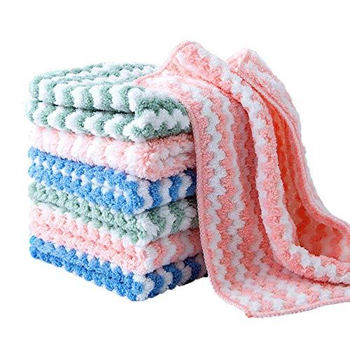 QINQI - Paño de limpieza de cocina, 6 piezas, toalla de algodón, secado rápido, aceite antiadherente, paño polar de coral superabsorbente