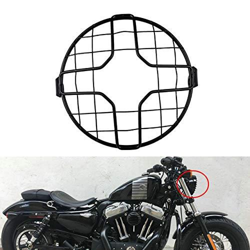 NATGIC Parrilla para Faros Delanteros de Motocicleta de 7 pulgadas, Protector de Cubierta Universal Redondo de Metal para Motocicleta o Bicicleta con Tornillo de Montaje Lateral de 8mm a 10mm - Negro