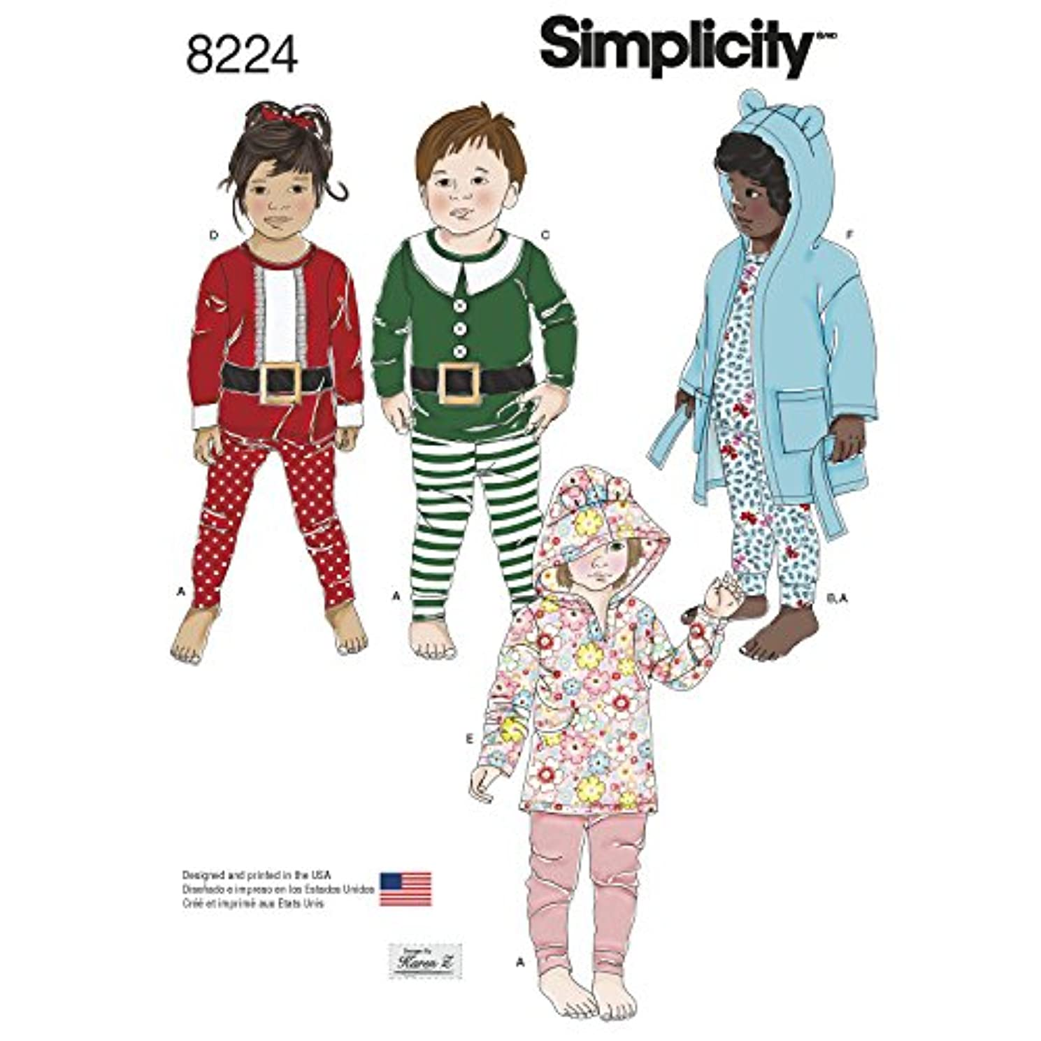 Simplicity Creative Patterns Simplicity Pattern 8224 Toddler's Robe and Knit Pants and Tops