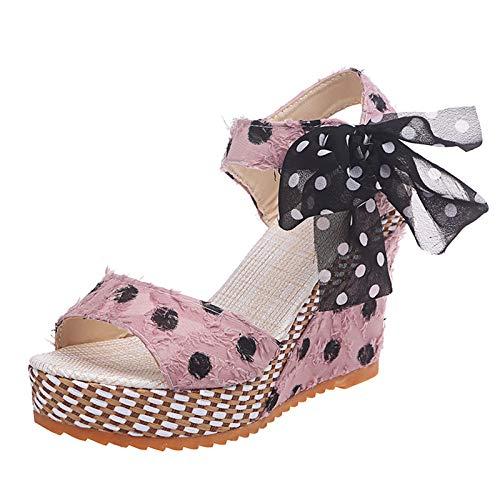 Eaylis Damen Platform Sandalen Wedges Heel Sandalen Damen Schuhe Mode Dot Schnürschuhe Schuhe
