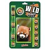 Wild Stationery Set - Panda rojo de Deluxebase. Este divertido set de papelería para chicas y chicos incluye 2 lápices, goma de borrar, sacapuntas, regla y cuaderno