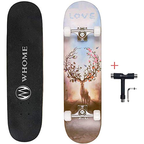 Yxxc Juego de Ducha Pro Skateboard Completo 31 x 8 Pulgadas Skate Board 8 Capas Alpine Hard Rock Maple Deck Double Kick Cóncavo Street Skateboard ABEC-9 Rodamientos para Adolescentes, Principiantes