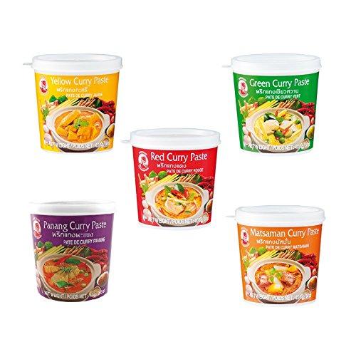 5er Set Cock Curry Paste 5 x 400g Gelb - Grün - Rot - Matsaman - Panang Thai rote gelbe Pamai Pai®