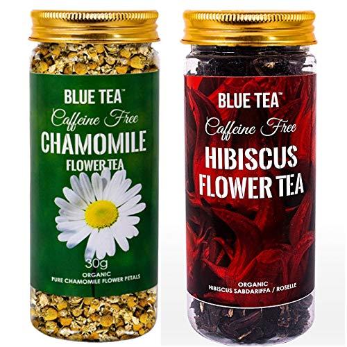 BLUE TEA-Immunity Tea combo | Chamomile Flower Tea – 30g & Hibiscus Flower Tea- 50g – Combo Pack | Caffeine Free Herbal Tea | 80g – 100 Cups I