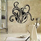 yaonuli Pulpo calcomanía de Pared Animal tentáculo Vinilo Papel Tapiz baño decoración Estilo Marino Mural 57x98cm