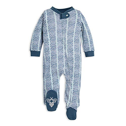 Burt's Bees Baby Baby Boys' Sleep and Play PJs, 100% Organic Cotton One-Piece Romper Jumpsuit Zip Front Pajamas, Watercolor Chevron, 9 Months