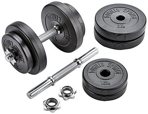 30/31mmGORILLA Sports® Kurzhanteln 2er Set Kunststoff 20 kg – Hantelstangen, Gewichte und Sternverschlüsse gerändelt 30/31mm