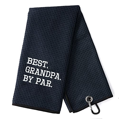 DYJYBMY Best Grandpa by Par Funny Golf Towel, Embroidered Golf Towels for Golf Bags with Clip, Grandpa Golf Towel, Golf Gift for Men, Birthday Gifts for Golf Fan, Retired Gifts for Coworker Friends