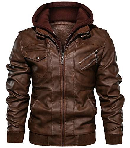 chouyatou Men's Vintage Removable Hooded Slim Motorcycle Faux Leather Bomber Jacket (Medium, Brown)
