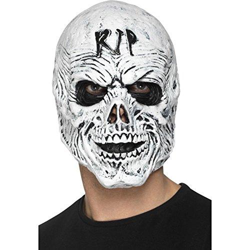 Halloween! Smiffys R.I.P.-Sensenmann-Maske, Weiß, Schaumlatex, komplette Kopfabdeckung