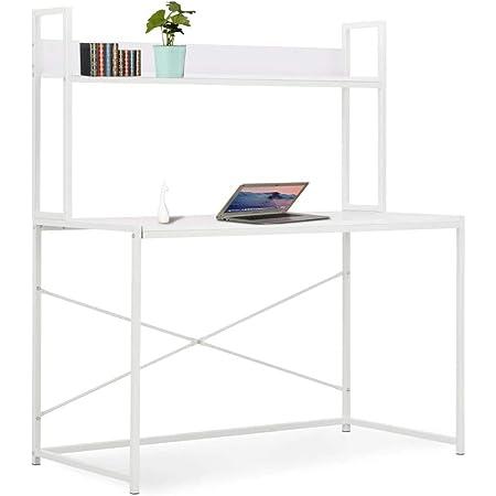 vidaXL Mesa Escritorio Ordenador Estantería Diseño Moderno Industrial Mueble Estante PC Computadora Estudio Oficina Trabajo Aglomerado Metal Blanco