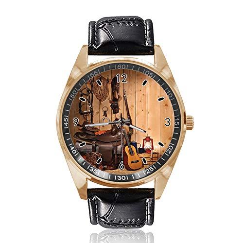 Armbanduhr mit Musik-Gitarren-Motiv, analog, Quarz, goldfarbenes Zifferblatt, klassisches Lederband, für Damen und Herren