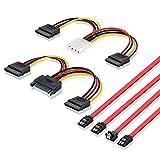 ELUTENG SATAケーブル + 電源ケーブル 4点セット L型 4 Pin デュアル 15 Pin SATA 電源ケーブル SATA3 高速 6Gbps 15 Pin 分岐デュアル15 Pin SATAケーブル セット 内臓HDD シリアルATA コネクタ ストレート 自作PC 内蔵ハードディスク/光学ドライブ 等に対応