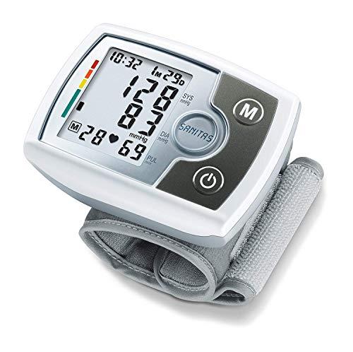 Tensiomètre électronique au poignet Sanitas SBM 03 | compact, facile à emporter | mesure tension artérielle | détecteur darythmie cardiaque et hypertension | circonférence du poignet de 14 à 19,5 cm