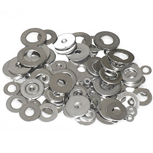"Wideskall Zinc Plated Steel Flat Washers Set Assortment Kit 3 Size 1/2"" 5/8"" 11/16"" - Pack of 80"