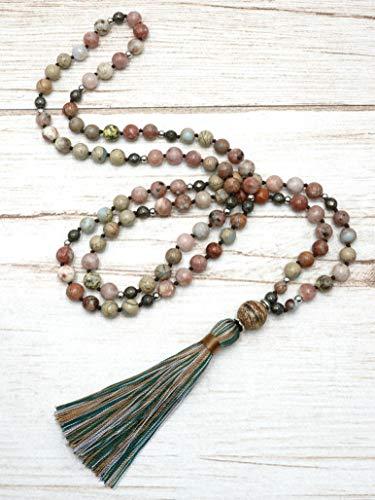 BENAVA Mala Kette aus 108 Perlen Bunt Jaspis Pyrit Edelstein mit Quaste und Achat Anhänger 100 cm