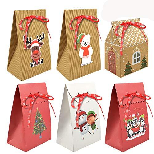 Yuson Girl 6/12Pcs Cajas de Regalo de Navidad 6 Estilos Diferentes de Cajas de Regalo de Navidad Utilizado en la Boda de Navidad Dulces de Chocolate Almendras CajadeRegalo Packing Box