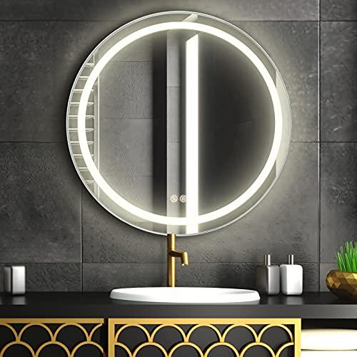 FAUETI LED Badspiegel Badezimmerspiegel mit Beleuchtung 60cm Neutralweiß 4200K Wandspiegel mit Touchschalter + beschlagfrei IP44 energiesparend