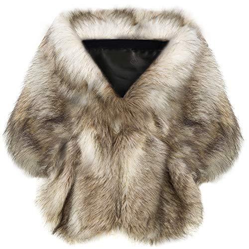 Coucoland Kunst Pelz Schal Damen Flauschig Faux Pelz Umschlagtuch Warm Kragen für Wintermantel 1920s Accessoires Gatsby Kostüm Zubehör (Kamel, L)