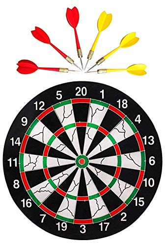 Farraige Double Faced Flock Printing Thickening Family Game Dart Board with Free 6 Needle 17-inch (Black)