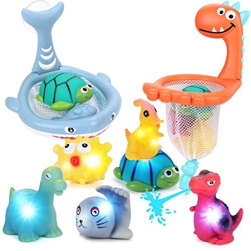 Tacobear 8 Piezas Juguetes Baño Juego de Pesca Goma Animales Marinos Dinosaurio Juguetes Bañera Luz Baño Juguetes Flotantes para Bañera Natación Piscina Infantil para Niños de 1 2 3 4 5 6 Años