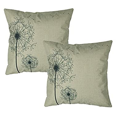 Luxbon Set of 2Pcs Morden Stylish Simplicity Dandelion Floral As You Wish Cotton Linen Throw Pillow Cases Home Sofa Couch Chair Cushion Covers 18 x 18/45X45cm