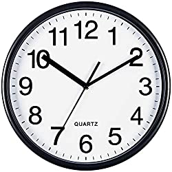 Bernhard Products Large Black Wall Clock, Silent Non Ticking - 13 Inch Quality Quartz Battery Operated Round Easy to Read Home/Office/School Clock Sweep Movement