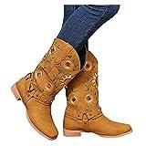 Dasongff Botas altas para mujer planas de caña larga para mujer, bordadas, botas de invierno, impermeables, clásicas, elegantes, moteros, cómodas, anchas, botas de nieve