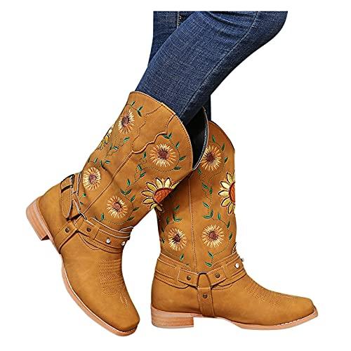 Damen Stiefeletten Biker Boots - Dasongff Winterschuhe Bestickte Stiefel Damen Mittelhoher Stiefel Frauen Bequem Buckle Winterboots, Schnee Winterstiefel, Draussen Winterschuhe Schlupfstiefel