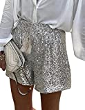 InterNos Women's Elastic High Waist Shorts Casual Sequin Glitter Pants with Drawstring (0011-White-L)