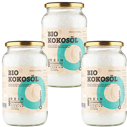 Bio Kokosöl CocoNativo -3x1000mL(1L)- Bio Kokosfett, Kokosnussöl, Premium, Nativ, Kaltgepresst, Rohkostqualität, Rein - zum Kochen, Braten und Backen, für Haare und Haut (3x1000ml Schraubglas)