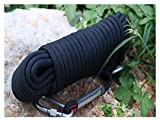 QHY Rock Climbing Rope 20mm High Strength Outdoor Safety Static Rock Climbing Rope Fire Rescue Parachute Ice Climbing Equipment Rope (Color : Black, Size : 25M20MM)