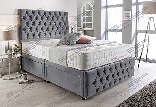 Sleep Factory's Grey Suede Chesterfield 2 Drawer Divan Bed Set, Mattress & Headboard (6.0FT (Super King))