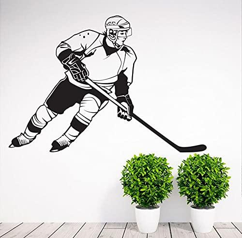 SSCLOCK Pegatina de Vinilo para Pared de Jugador de Hockey extraíble para decoración del hogar, Pegatina de Vinilo para Pared, Papel Tapiz de Pizarra Blanca 61x42cm
