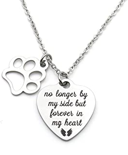 Pet Memorial Gift No Longer by My Side But Forever in My Heart Stainless Steel Paw Prints Necklace Pet Sympathy Gift