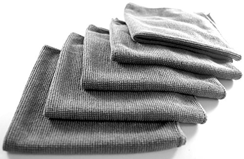 Mikrofasertücher 5er Set 30 x 30 cm Prämie Reinigung Reinigungtücher Putztuch Tuch Mikrofasertuch Wiederverwendbar Grau Аbsorbierend Microfibre Cloth Towel Set 5 Pc