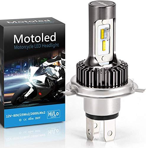 Camelight H4 - Faro LED para moto, sin ventilador, kit de conversión 25 W, 9003/HS1, bombilla de repuesto perfecta para halógenos H4, compatible con faros de coche H4,6000 K, luz blanca, 1 unidad
