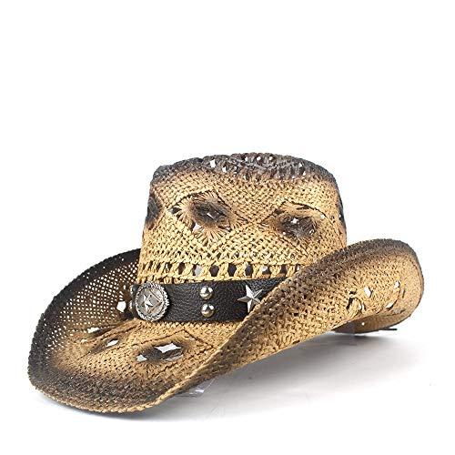 Sombreros de vaquero populares elegantes de las mu Nuevo Retro Sombrero de vaquero del oeste Verano de las mujeres de los hombres de ala ancha de paja Playa Vaquera Sombrero for el sol Ahuecar hacia f