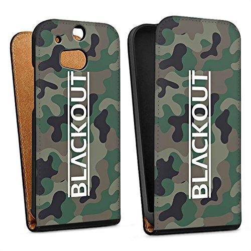 DeinDesign Tasche kompatibel mit HTC One M8 Flip Hülle Hülle Schwarz Blackout Camouflage YouTube