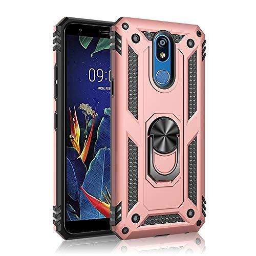 BestST Funda LG K40 con Anillo Soporte, con HD Protectores de Pantalla, Rugged TPU y PC Cubierta de Doble Capa Hybrid Carcasa y 360 °Rotación Kickstand 2 en 1 Case. Rose-Oro