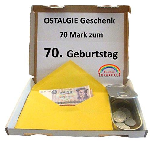 WallaBundu OSTALGIE Geschenkidee - 70 Mark zum 70. Geburtstag – EIN symbolisch wertvolles Geschenk mit ca. 11 verschieden Umlaufmünzen aus der DDR Zeit und Taschenkalender 1950. Nostalgie…