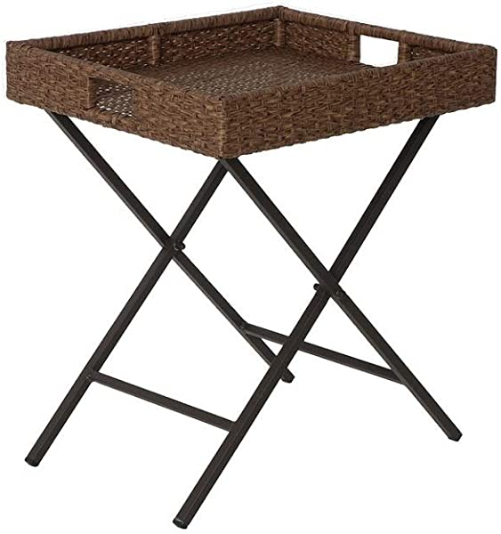 Gopatio Wicker Butler Tray Table Rattan Sofa Side Table Display Stand Folding TV Snack Tray Table Hickory