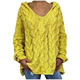 OutTop Cable Knit Sweaters for Women Lightweight Long Sleeve Loose Hoodies Sweatshirts Solid Casual Pullover Tops (Yellow, S)