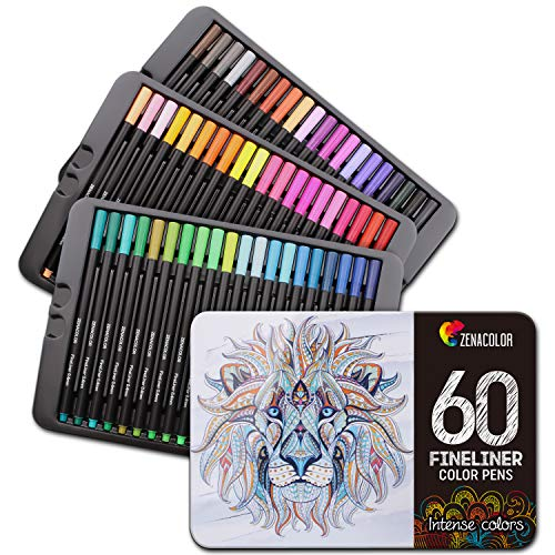60 Fineliner Pens, Colored Fine Tip Markers - 60 Unique, 0.4 mm, Fine Point Pens for Bullet Journal, Adult Coloring Books - Felt Tip Pens, Art Supplies Colored Pens for Drawings, Journaling